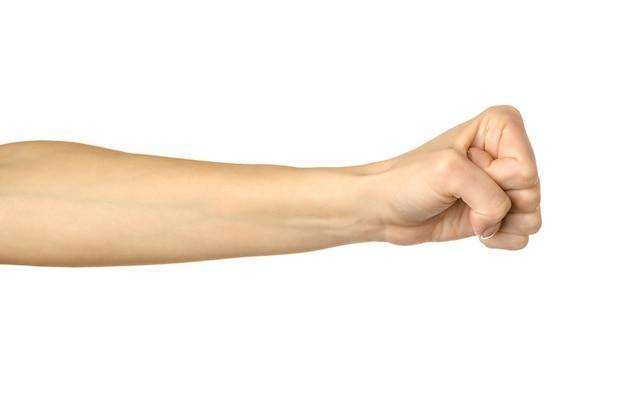Mano della donna che gesturing isolato su bianco