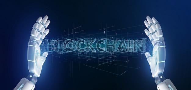 Mano di cyborg che tiene un titolo blockchain
