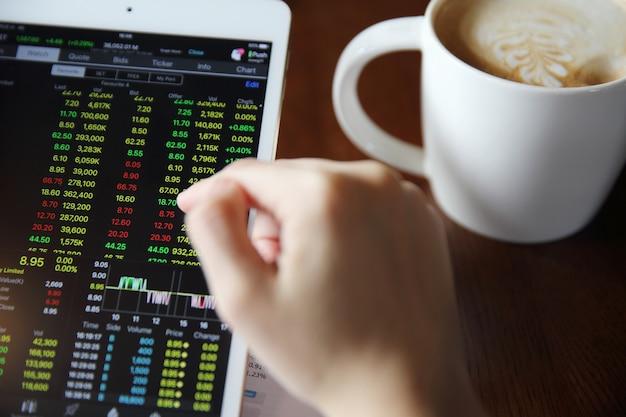 Mano di donna che vende online su tablet con business paper e caffè