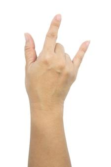 Mano femminile che mostra il segno del rock n roll