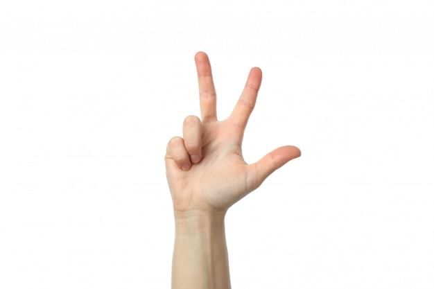 Mano femminile che mostra tre dita, isolate su fondo bianco