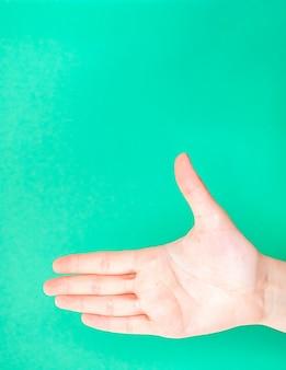 Mano femminile sul fondo isolato di colore verde del turchese
