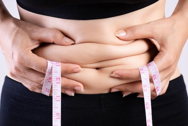 Mano grassa della donna che tiene eccessivo grasso della pancia con nastro adesivo di misurazione.