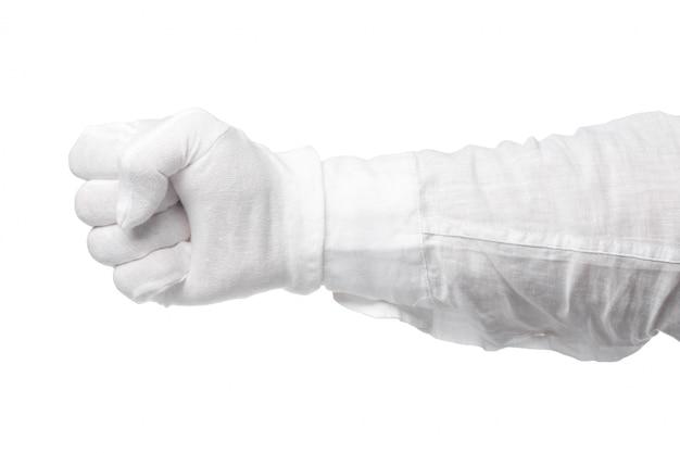 Mano in un guanto bianco isolato. gesto accattivante. gesticolazione