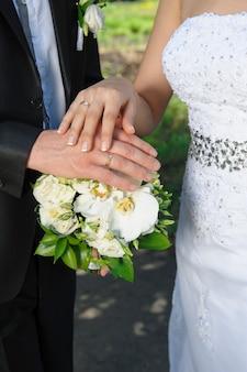 Mano la sposa e lo sposo con anelli sul bouquet da sposa