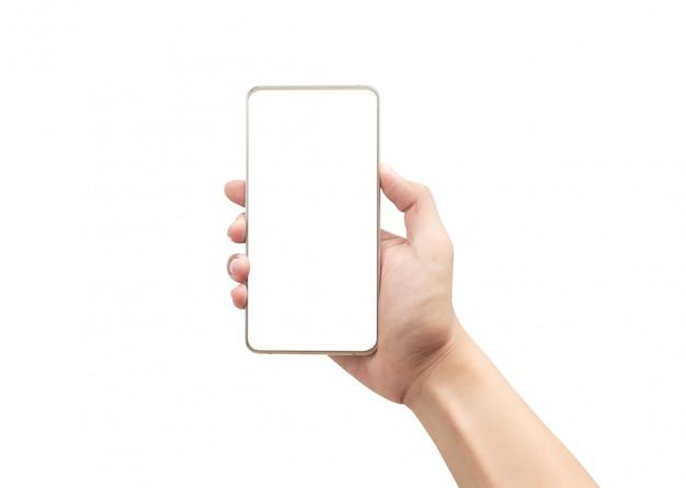 Mano maschio che tiene lo smartphone dell'oro con lo schermo in bianco isolato su fondo bianco con il percorso di ritaglio.