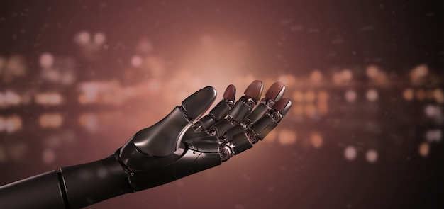 Mano rossa del robot cyborg virus