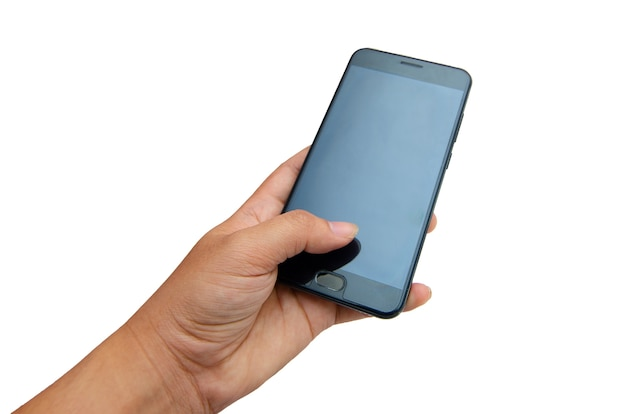 Mano telefono isolato mano premuto telefono nero su sfondo bianco isolato