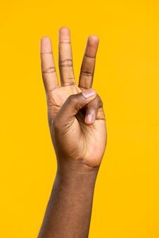 Mano vista frontale che mostra tre dita