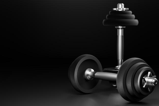 Manubri. attrezzature per allenamento o fitness in palestra. realizzato in ferro e molto peso. rendering 3d. concetto di assistenza sanitaria muscolare.