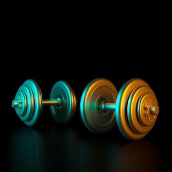 Manubri da allenamento color oro su sfondo nero.