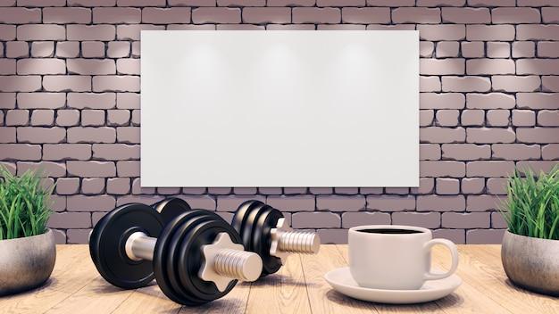 Manubri e una tazza di caffè su un tavolo di legno. modello di allenamento.
