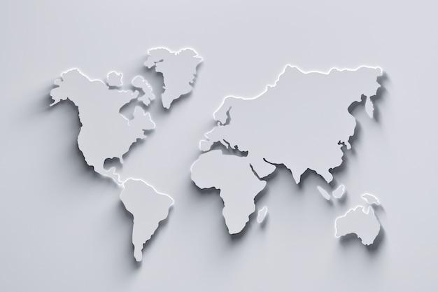 Mappa del mondo bianca