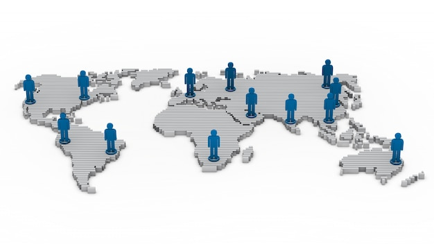 Mappa del mondo con bambole di pezza