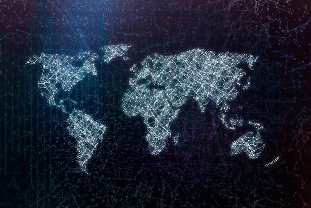 Mappa del mondo con punti e linee, rete di comunicazione digitale mondiale o rete
