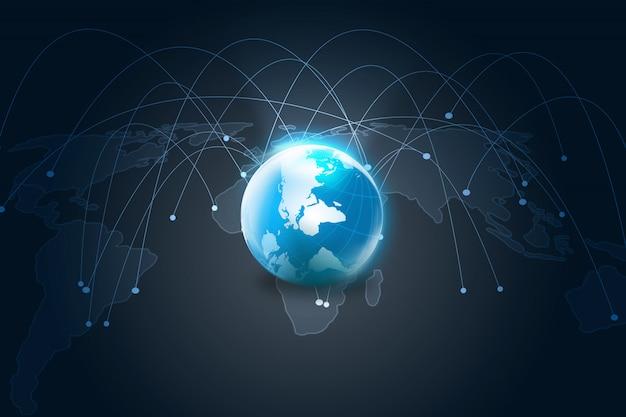 Mappa del mondo connessa, social network, business della globalizzazione, social media, concetto di networking.