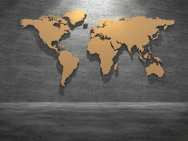 Mappa del mondo d'oro sul muro di piastrelle rendering 3d.