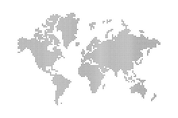Mappa del mondo di puntini su sfondo bianco