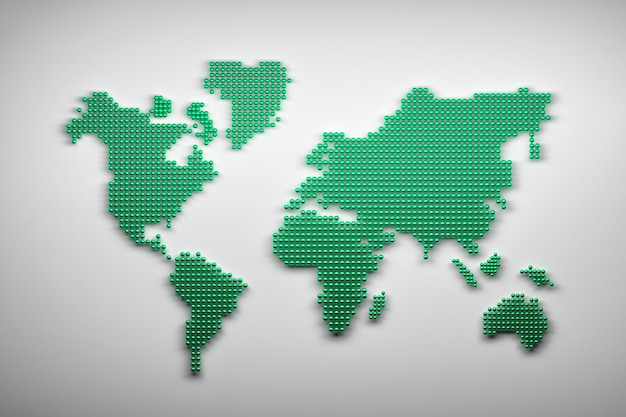 Mappa del mondo fatta di palline verdi