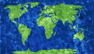 Mappa del mondo grunge grano