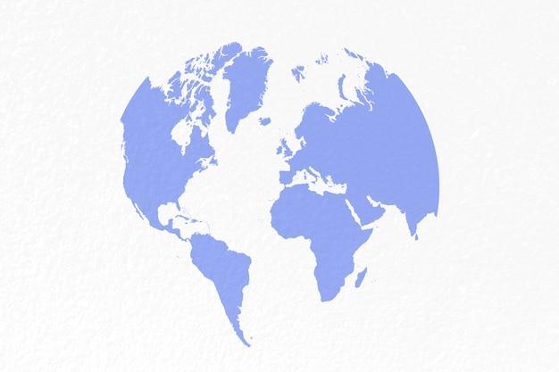 Mappa del mondo su sfondo blu pastello
