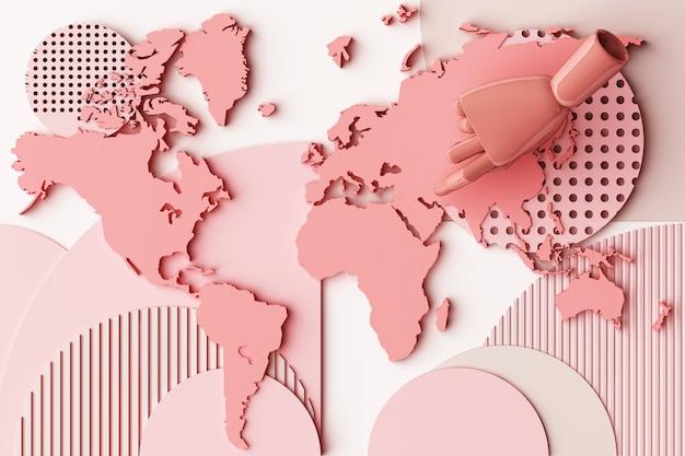 Mappa di mondo con la composizione dell'estratto di concetto della mano dell'essere umano delle piattaforme di forme geometriche nella rappresentazione di tono 3d di rosa pastello