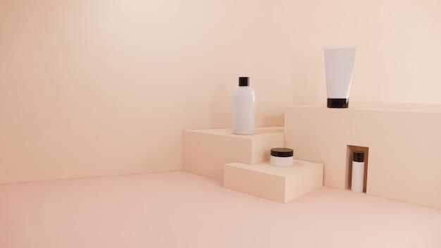 Marca stabilita di concetto del modello cosmetico del prodotto della bottiglia su pastello, rappresentazione 3d
