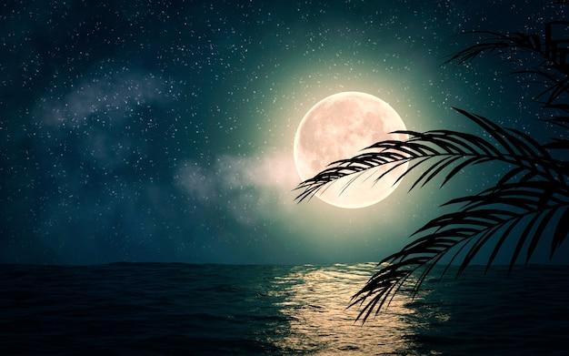 Mare con le stelle e l'illustrazione della luna piena 3d