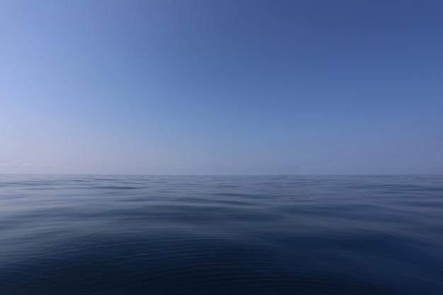 Mare liscio e cielo blu di giorno con aria limpida.