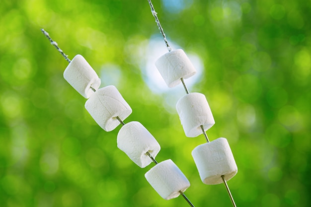 Marshmallow bianchi rotondi su bastoncini che arrostiscono sul fuoco