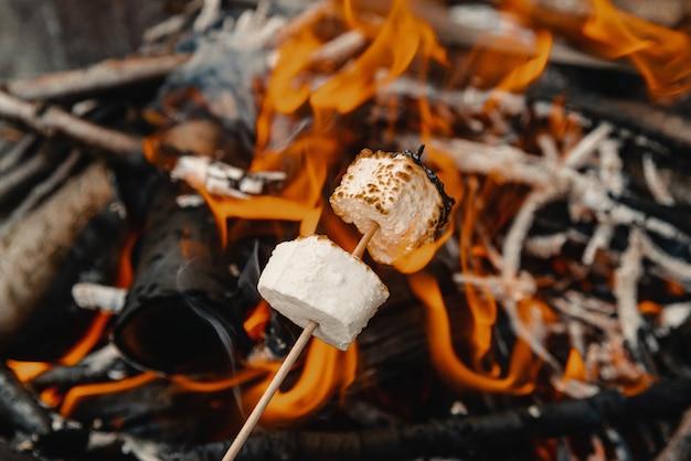 Marshmallow su un bastone fritto sul rogo