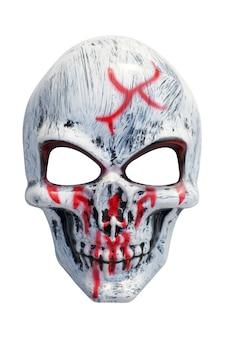 Maschera teschio bianco isolato su sfondo bianco
