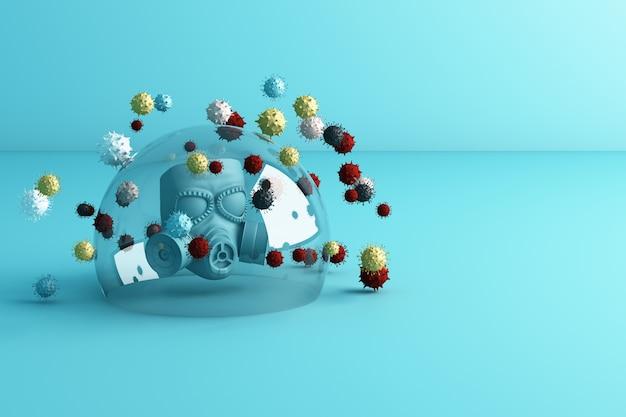 Maschera variopinta nella bolla di vetro che circonda da molta rappresentazione del virus 3d