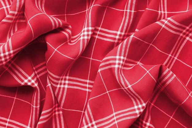 Materiale per vestiti a quadri rosso a quadri.