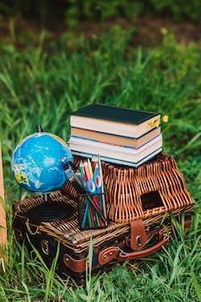Materiale scolastico e libri sul cestino