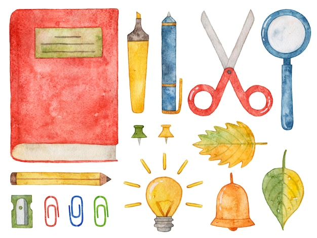 Materiale scolastico per acquerello. libro, penna, matita, forbici, lente d'ingrandimento.