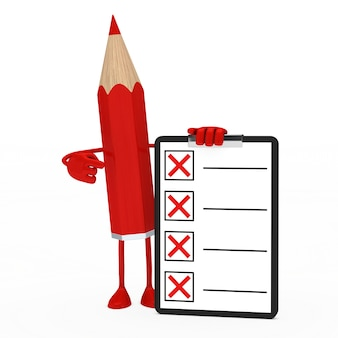 Matita rossa in possesso di un elenco negativo