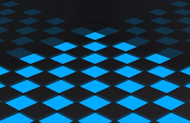 Mattonelle quadrate nere sul pavimento leggero blu.