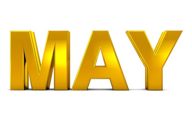 May gold 3d text may month abbreviazione isolato su sfondo bianco 3d rendering.