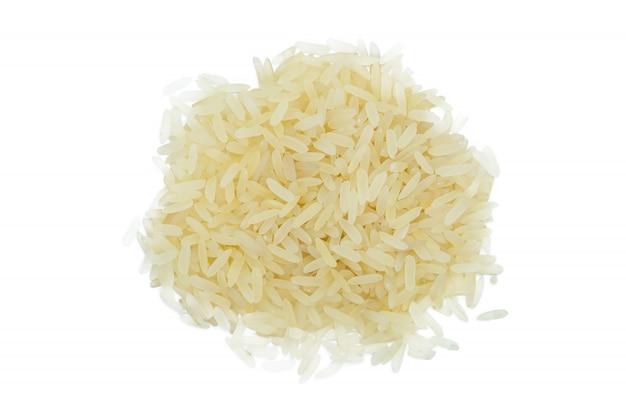 Mazzo cotto a vapore riso bianco, fine in su, isolato.