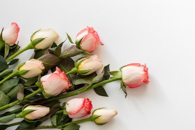 Mazzo del primo piano di rose romantiche