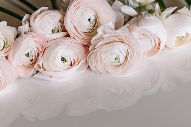 Mazzo di fiori di ranuncolo rosa pallido su sfondo chiaro