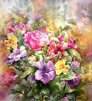 Mazzo di stile multicolore della pittura dell'acquerello dei fiori
