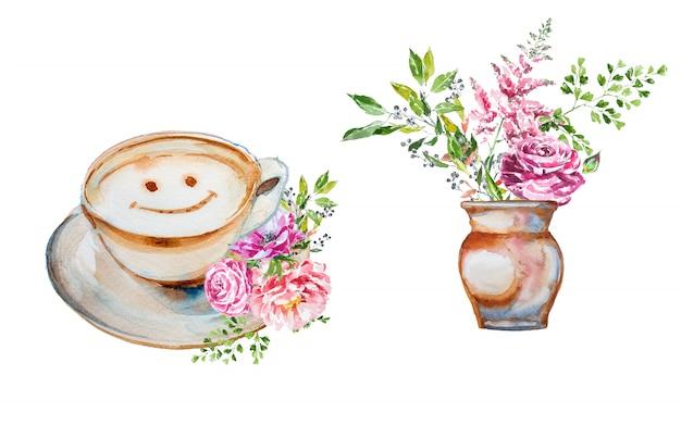 Mazzo dipinto a mano del fiore della molla dell'acquerello in un vaso e una tazza di caffè con l'insieme di clipart delle decorazioni del fiore.
