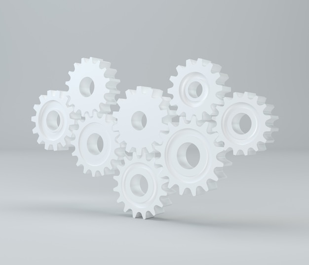 Meccanismo a cremagliera. gears. rendering 3d