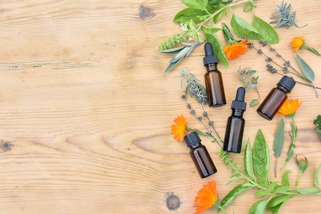 Medicina di erbe, fitoterapia, rimedi naturali, olio essenziale, estratto in bottiglie marroni, erbe e fiori freschi ,.