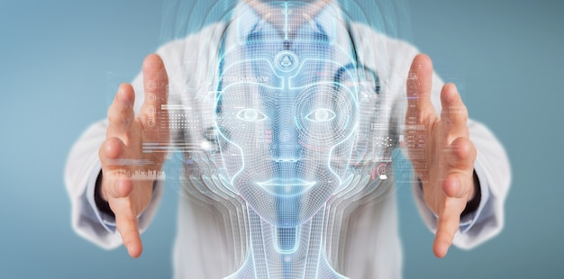 Medico che utilizza l'interfaccia della testa di intelligenza artificiale digitale