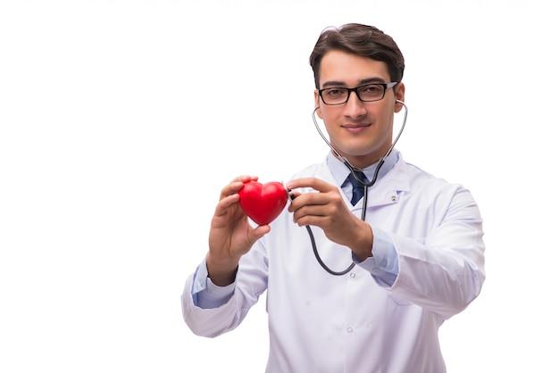 Medico con cuore isolato su bianco