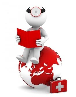 Medico con un libro seduto sul globo di terra rossa.