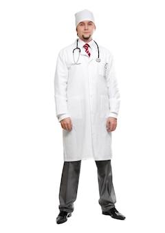 Medico isolato su sfondo bianco